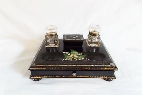 Victorian Paper mache and mother of pearl desk set