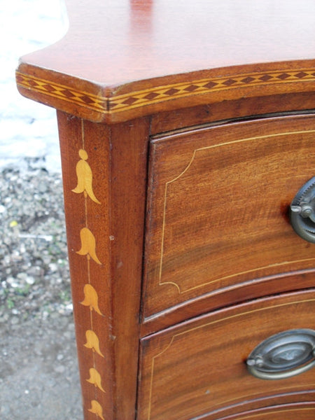 Georgian Inlaid Mahogany Serpentine Chest - Country Homes Antiques