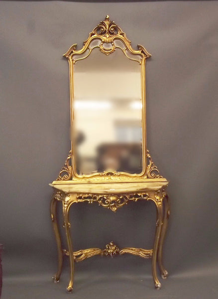 Early 20th cent Italian gilt mirror backed console table