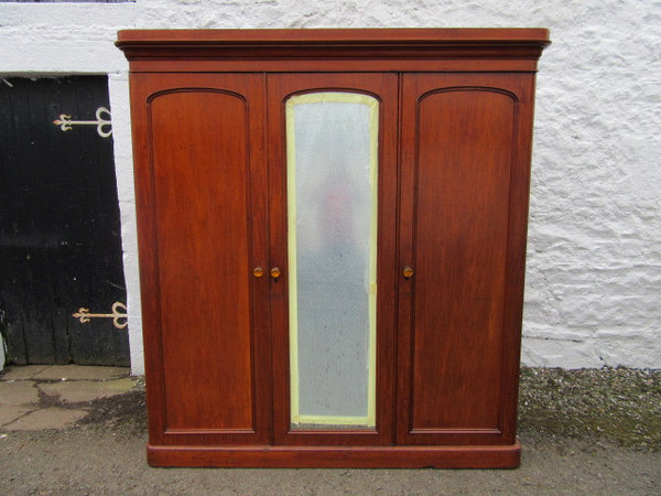 Victorian three door mahogany mirror door wardrobe - Country Homes Antiques