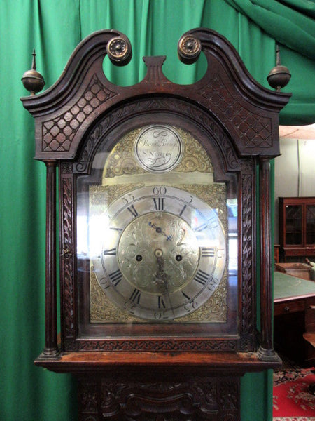 18th century Scottish carved oak brass face grandfather clock (For local sale only) - Country Homes Antiques