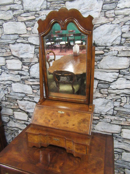 Georgian burr walnut dressing mirror - Country Homes Antiques