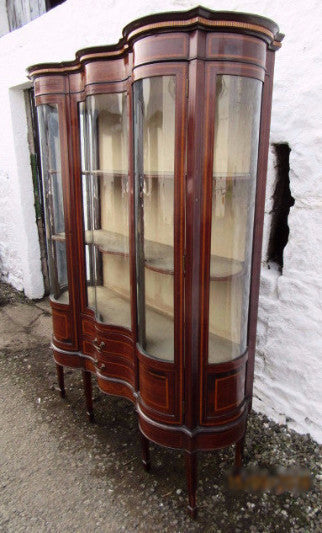 A rare Edwardian serpentine, inlaid mahogany china cabinet - Country Homes Antiques