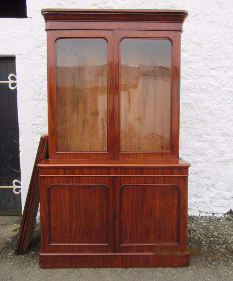 Victorian mahogany library two door bookcase on cupboard base - Country Homes Antiques
