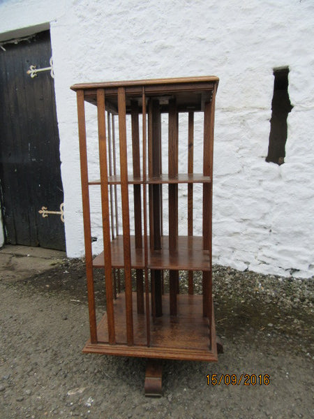 Edwardian oak revolving bookcase - Country Homes Antiques