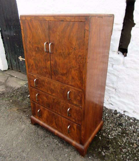 20th century burr walnut tallboy - Country Homes Antiques