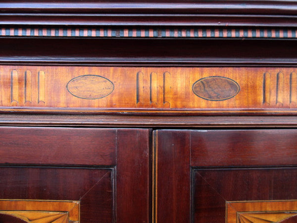 Georgian inlaid mahogany linen press - Country Homes Antiques