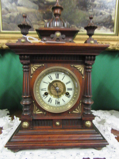 19th cent Oak cased mantle clock - Country Homes Antiques