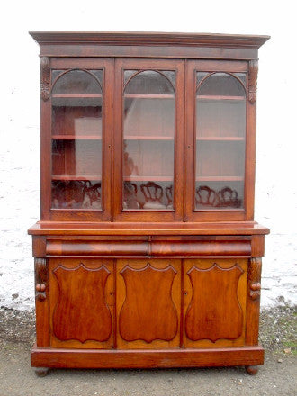 A Victorian mahogany 3 door bookcase on base - Country Homes Antiques