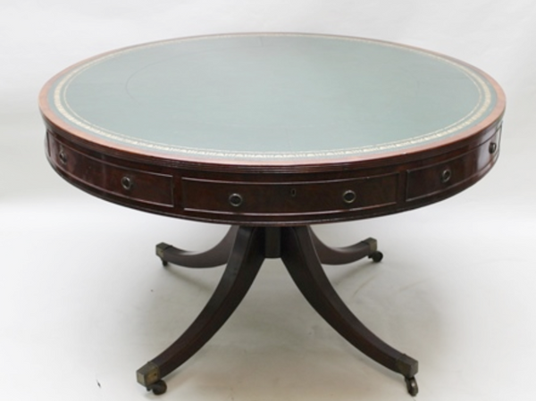 George 111 Mahogany drum table. Country Homes Antiques Scotland.