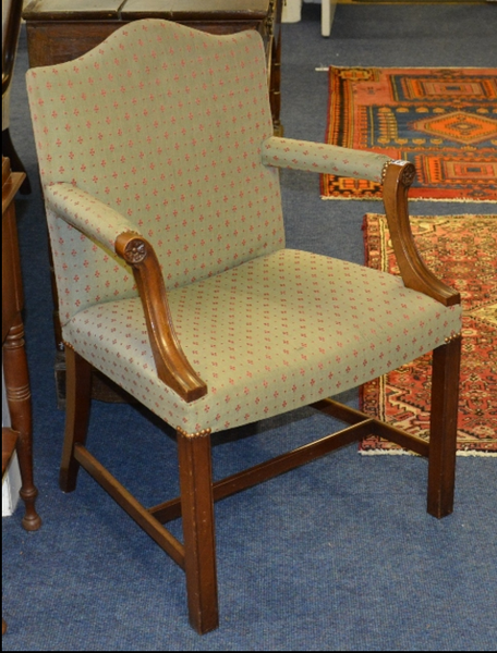 A Gainsbourgh style mahogany framed open armchair