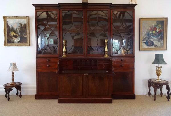 Georgian mahogany artigal glazed four door Breakfront Bookcase - Country Homes Antiques