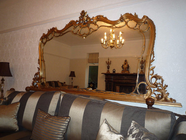 19th century large rococo gilt mirror - Country Homes Antiques