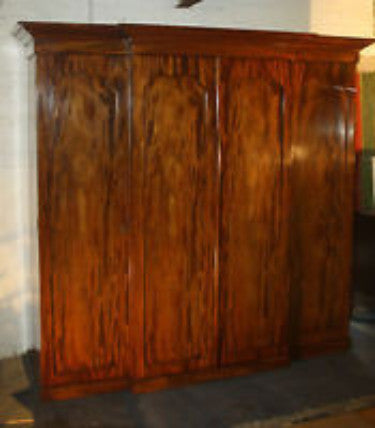 Victorian breakfront four door mahogany wardrobe. - Country Homes Antiques