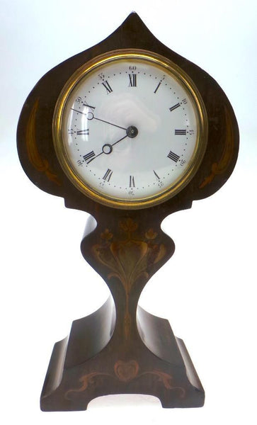 Art Nouveau Inlaid Antique Edwardian 8 day Mahogany Timepiece Mantel clock