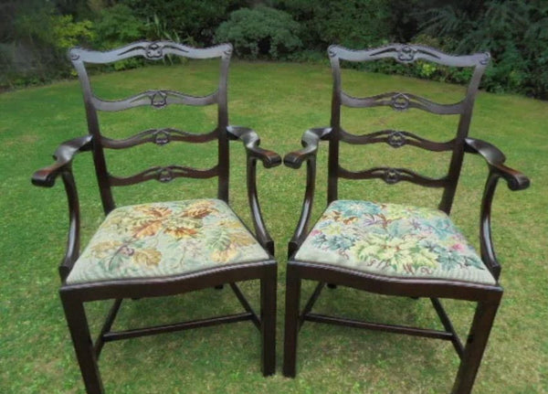 A fine pr of Georgian mahogany carved ladder back carver chairs - Country Homes Antiques