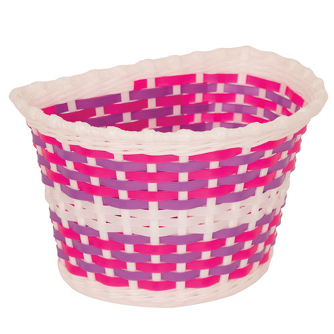 KIDS BITZ WHITE BASKET WITH PINK AND PURPLE WEAVE
