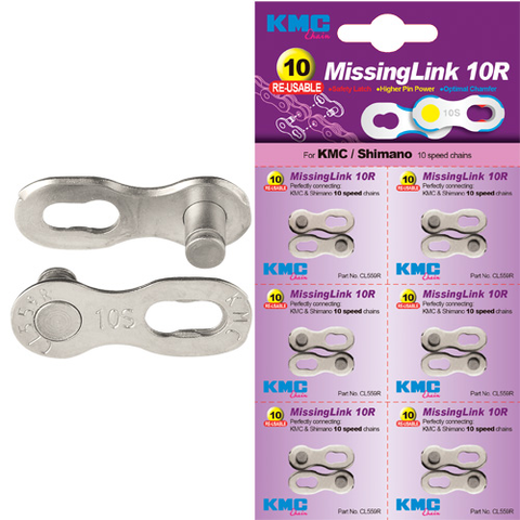 KMC CHAIN MISSING LINK 10 SPEED SILVER (EACH SOLD SEPARATELY)