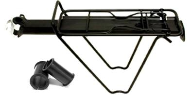 TOUR SERIES  SEAT POST MOUNTED QR WITH BAG STAYS & SPRING BOW ALLOY BLACK CARRIER RACK