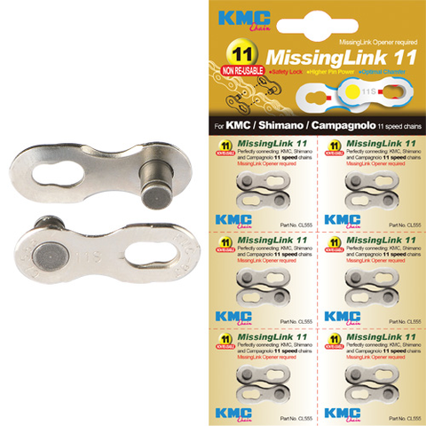 KMC CHAIN MISSING LINK 11 SPEED SILVER (EACH SOLD SEPARATELY)