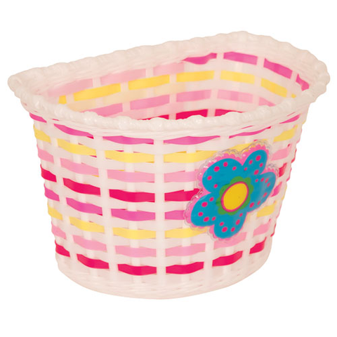 KIDS BITZ BASKET WHITE WITH BLUE FLOWER AND PINK/YELLOW WEAVE