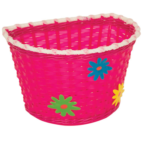 KIDS BITZ PINK BASKET WITH GREEN, BLUE AND YELLOW FLOWERS