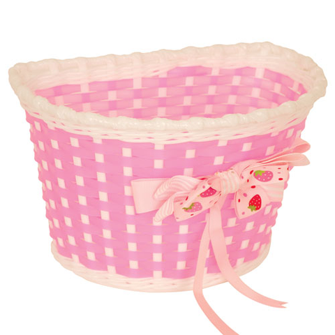KIDS BITZ PINK & WHITE BASKET WITH STRAWBERRY BOW