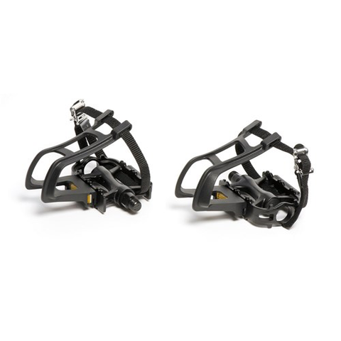 "VP-466 MTB ALLOY 9/16"" BLACK WITH TOE CLIP & STRAPS PEDALS"