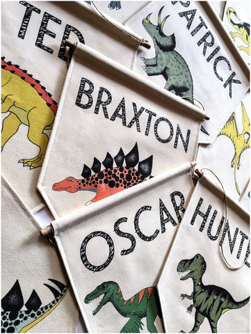 Personalised Dinosaur Canvas Banners