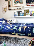 Dino Raw Bed Linen - Double / King Single Quilt Set - Dinosaur Stars & Moon
