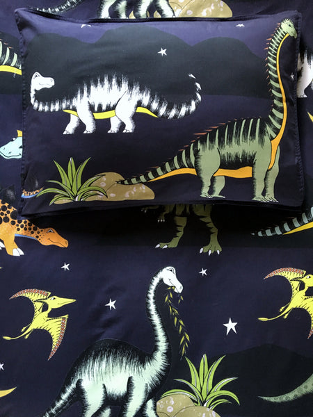 Dino Raw Bed Linen - Single Quilt Set - Dinosaur Stars & Moon - Available For Pre-Order