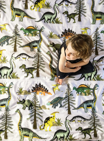 Dino Raw Bed Linen - Double / King Single Quilt - Dinosaur Adventures - Available for Pre-Order