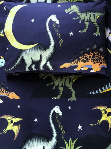 Dino Raw Bed Linen - Single Pillowcase - Dinosaur Stars & Moon