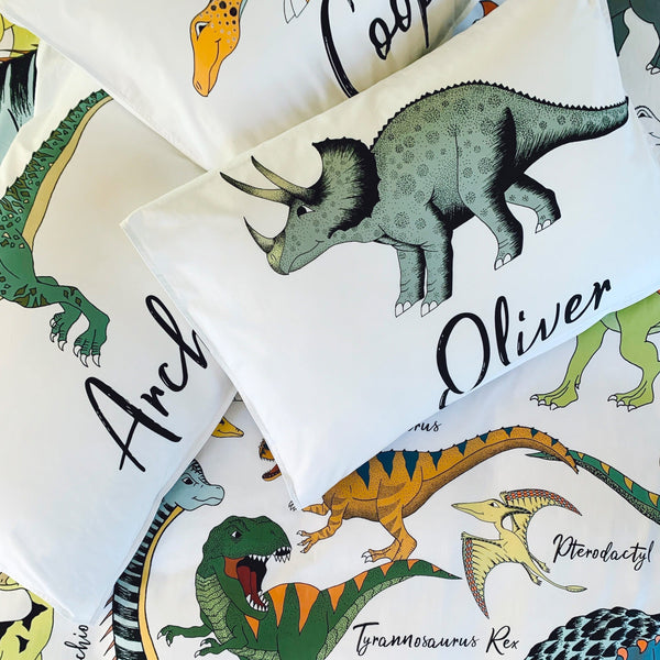Dino Raw Bed - Single Pillowcase - Cotton - Personalised Dinosaur - Available For Pre-Order