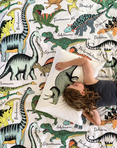 Dino Raw Bed - Single & Double Quilt Cover - Dinosaur Learn - Cotton - Available For Pre-Order