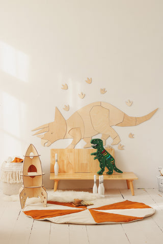 Wooden Dinosaur Origami Wall Decoration - Triceratops - Available For Pre-Order