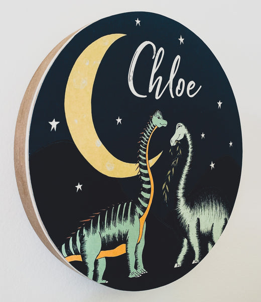 Personalised Wooden Dinosaur Plaque - Stars & Moon