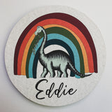 Personalised Wooden Dinosaur Plaque - Brontosaurus Rainbow