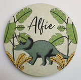 Personalised Wooden Dinosaur Plaque - Triceratops