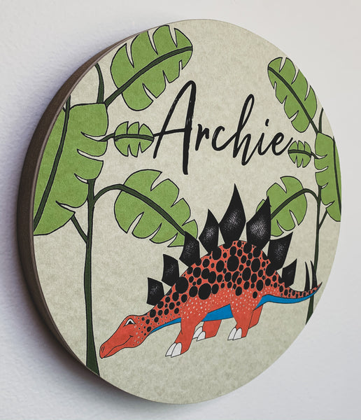 Personalised Wooden Dinosaur Plaque - Stegosaurus Jungle