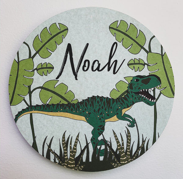 Personalised Wooden Dinosaur Plaque - Giganotosaurus Jungle