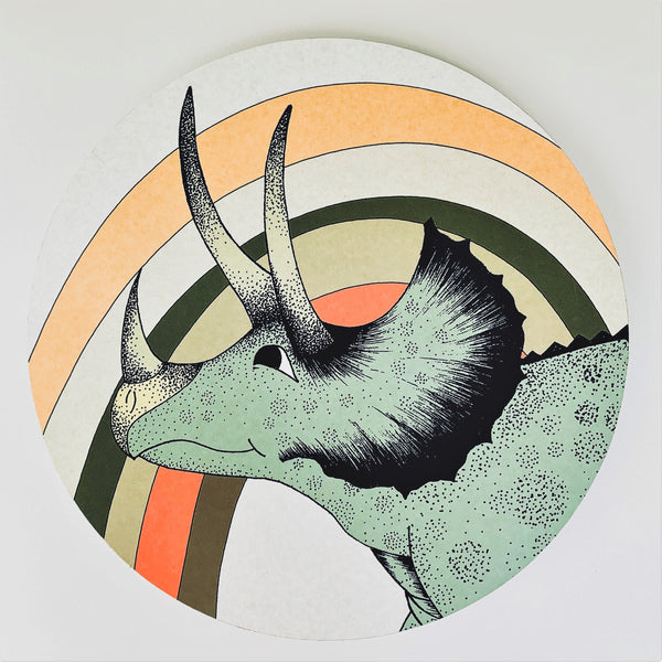 Wooden Dinosaur Plaque - Rainbow Triceratops Head