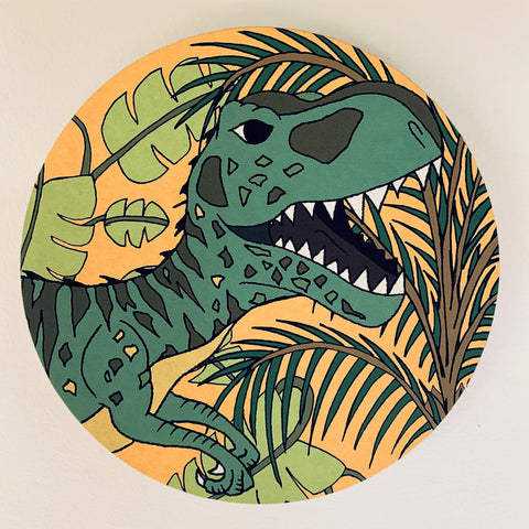 Wooden Dinosaur Plaque - Jungle Giganotosaurus Head