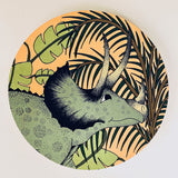 Wooden Dinosaur Plaque - Jungle Triceratops Head