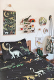 Dino Raw Bed - Double Quilt Cover - Dino Starry Nights