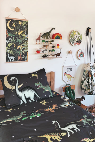 Dino Raw Bed - Double Quilt Cover - Dino Starry Nights - Available for Pre-Order