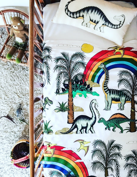 Dino Raw Bed Linen - Cot Quilt Cover - Rainbow Dinosaur Dreaming