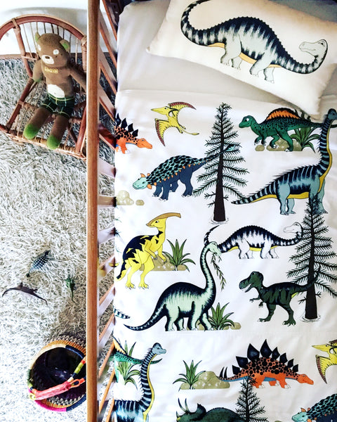 Dino Raw Bed - Cot Quilt Cover - Dinosaur Adventures - Available For Pre-Order