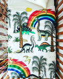 Dino Raw Bed - Cot Quilt Cover - Rainbow Dinosaur Dreaming