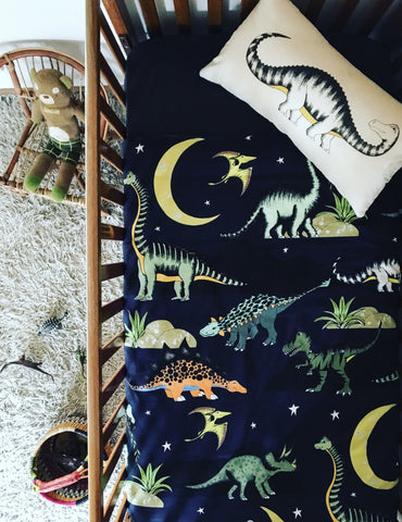 Dino Raw Bed Linen - Cot Quilt Cover - Dinosaur Stars & Moon - Available For Pre-Order
